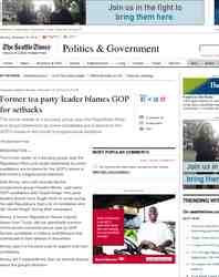 Former tea party leader blames GOP for setbacks: Seattle Times