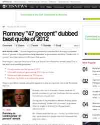 Romney 47 percent dubbed best quote of 2012: CBS News